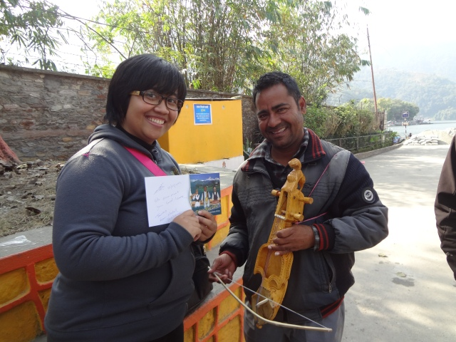 "Putu bought a CD from the local Nepali singer. Check out the famous Nepali folk song ""Resham Firiri"" in youtube!"