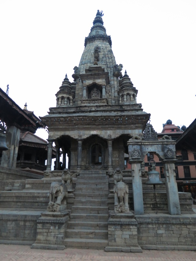 Nearby temples, different architecture. The different style shows that there were cultural mixes in Nepal.