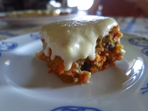 Anniek's carrot cake and cream cheese with a hint of lemon. Lekker!